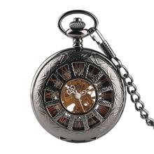цена на Vintage Luxury Brand Necklace Mens Pocket Watch, Black Steampunk Skeleton Mechanical Pocket Watch for Man, Clock Pocket Watches