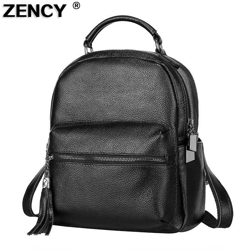 ZENCY Popular Fashion Top Quality Genuine Leather Women's Female Ladies Backpacks Real Cowhide School Bags Cuero Genuino Mochila zency genuine leather backpacks female girls women backpack top layer cowhide school bag gray black pink purple black color