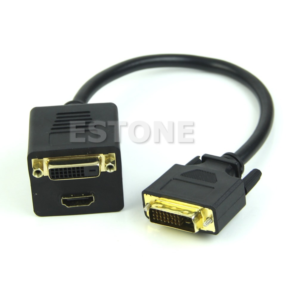 New Arrival for NEW DVI Splitter 1 to 2 Port Best Female + DVI 24+1 Y Cable Adapter For PC HDTV rp sma female to y type 2x ip 9 ms156 male splitter combiner cable pigtail rg316 one sma point 2 ms156 connector for lte yota