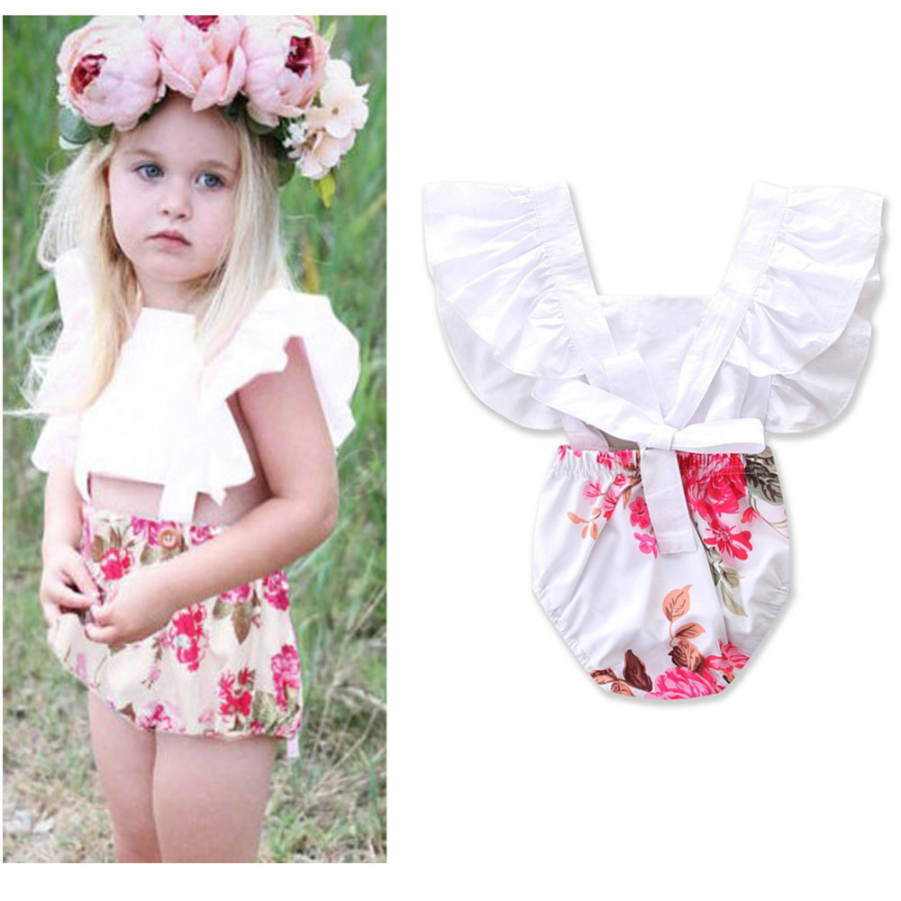 Ins Hot Cotton Cute Rompers Summer Infant Baby Girl Clothes Lace Floral Baby Girl Romper Sunsuit Outfits Toddler Jumpsuit 0-4Y summer cotton baby rompers infant toddler jumpsuit lace collar short sleeve baby girl clothing newborn overall clothes