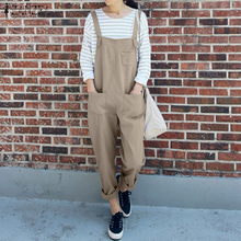 6e00bc0e35 2018 ZANZEA Women Rompers Summer Strappy Sleeveless Loose Solid Jumpsuits  Casual Party Work Dungarees Bib Overalls