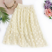 2019 Spring Summer  Tulle Lace Three Dimensional Flower Embroidery Chiffon Skirt Fresh Long Girls Pleated Women Skirts