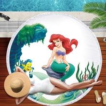 Nieuwe Mode Vrouwen Grote 150*150 Microfiber Stof Badhanddoek Voor Strand Dikke Mermaid Print Home Decor Ronde Strand handdoek