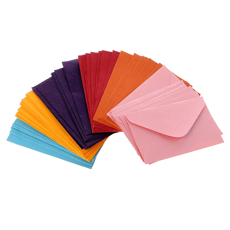 50Pcs Retro Colored Blank Mini Paper Envelopes Wedding Party Invitation Greeting Cards Gift Envelope 7 Colors C26