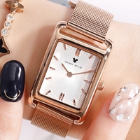 Disney's steel band Watch mesh belt fashion simple adult lady's watch square lady's popular lady's watch 349