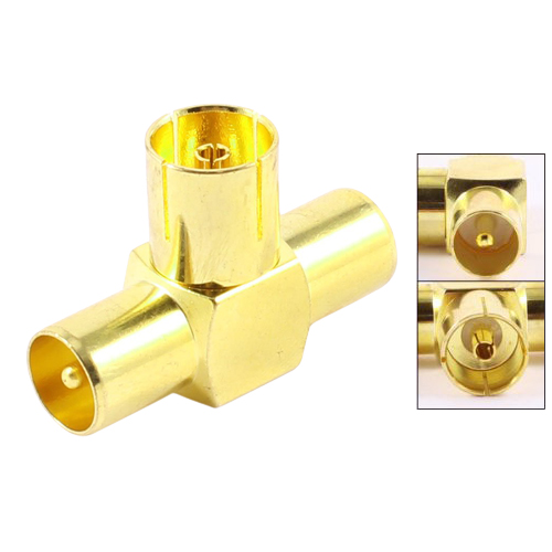 CAA-Gold Tone 3 Way RF Female to Mele TV Coaxial Aerial Antenna Adapters