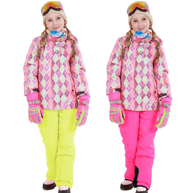 Cheap Plaid Winter Girls Ski Suits Windproof Sports Kids Girls Clothing Sets Parkas Jackets Pants Tracksuits for Children aTRQ0219
