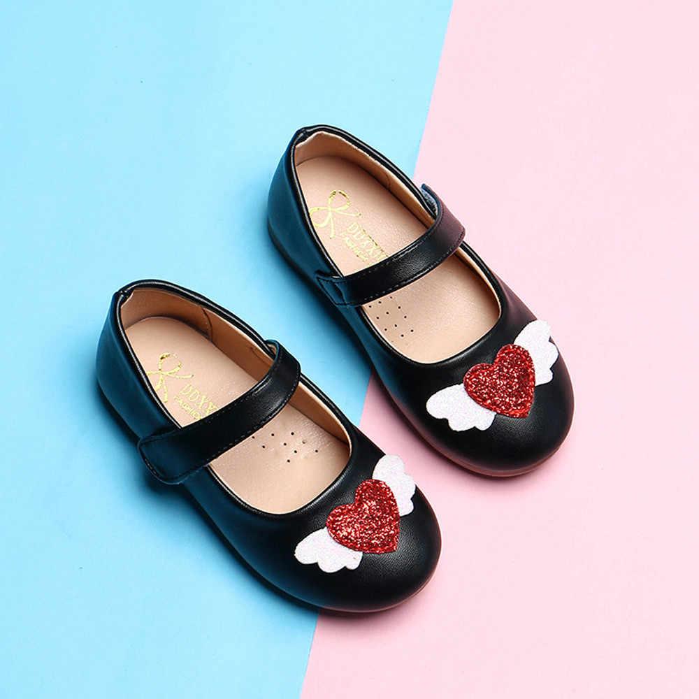 รองเท้าเด็กหญิง Casual แฟชั่นรองเท้าฤดูใบไม้ผลิหัวใจปีกหนังรองเท้า Hook & loop รองเท้า Solid เจ้าหญิงเด็กรองเท้าผ้าใบ