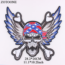 ZOTOONE 2018 New Big Skull Flag Patch Fashion Embroidery Punk Patches For Clothes Iron On Rock Applique Embroidered Wings