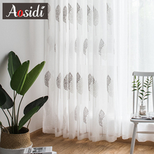 Modern Tree Tulle Curtains For Living Room Bedroom White Embroidered Sheer Kitchen Window Voile