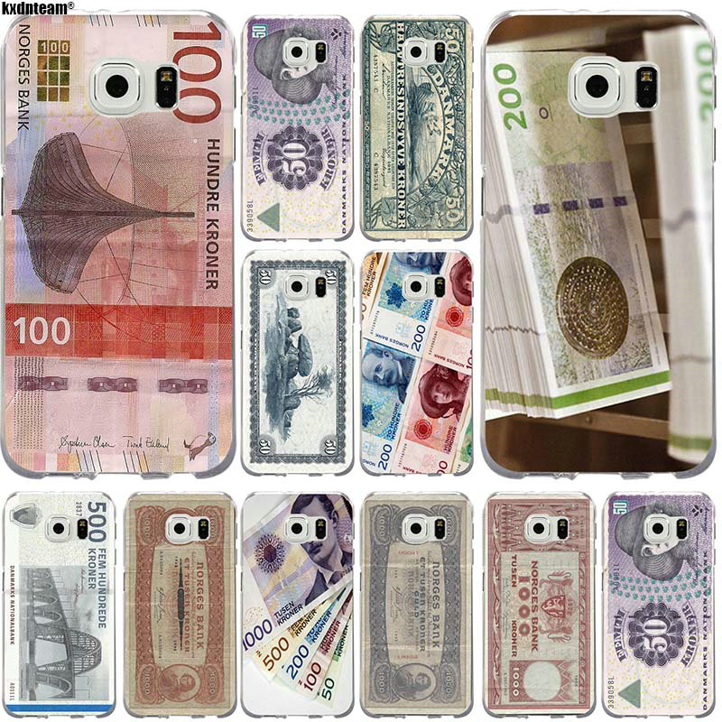 Rubber Soft TPU Phone Cases For Samsung Galaxy S2 S3 S4 S5 S6 S7 Edge S8 S8Plus S9 S9Plus Cover Design Danmark Danish Krone