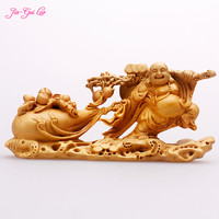 JIA GUI LUO Boxwood carving crafts bag monks Maitreya statuette gift collection birthday gift A029