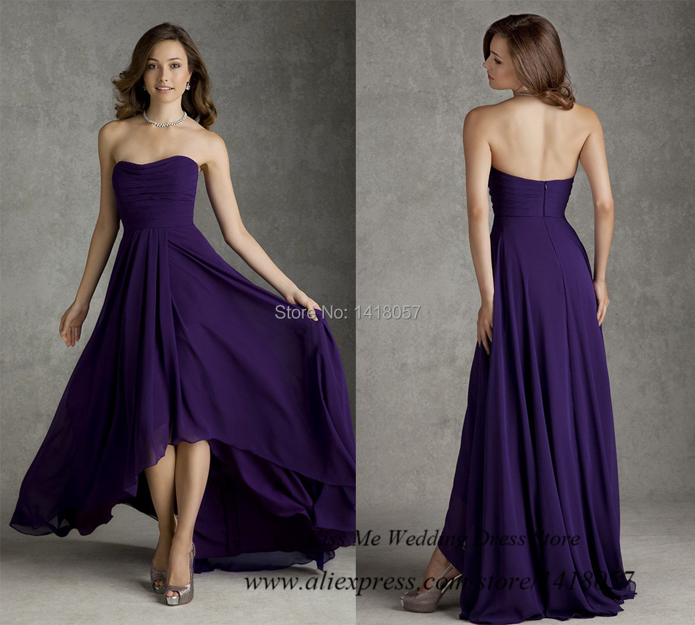 Free shipping high low wedding party dress 2015 purple for Free wedding dresses low income