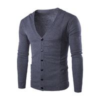 Men Sweater Cardigans Simple Style Cotton Knitting Fashion Male V Neck Brand Clothing 2017 New Autumn
