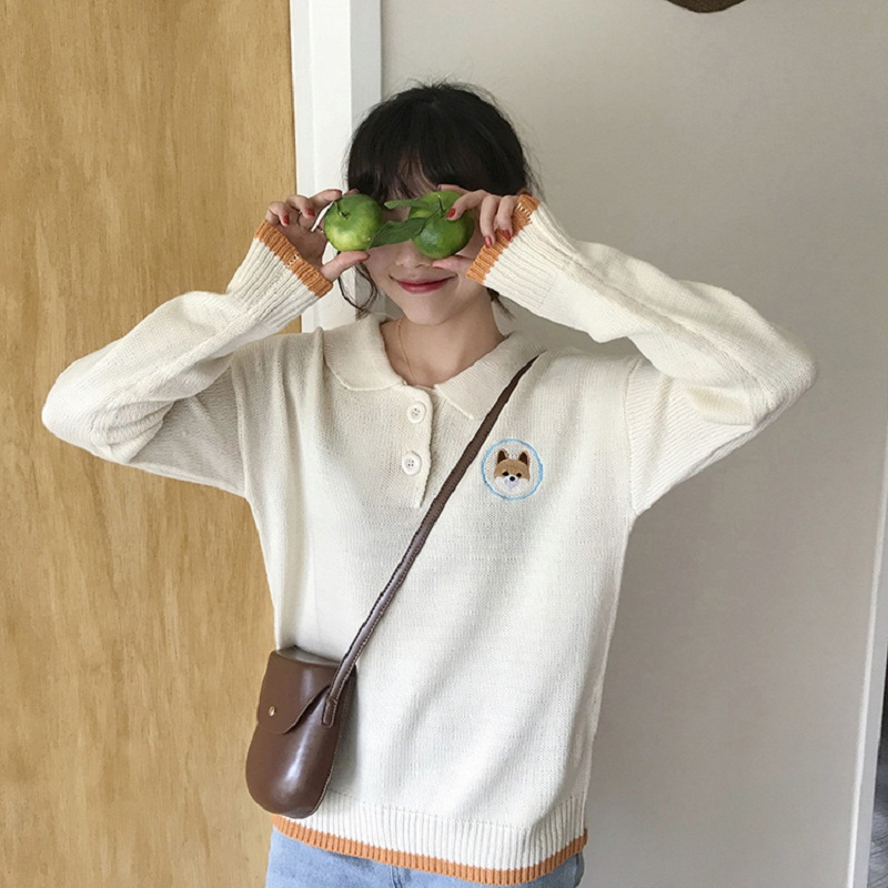 korean autumn winter 2018 Cute cartoon puppy embroidered lapel sweater women