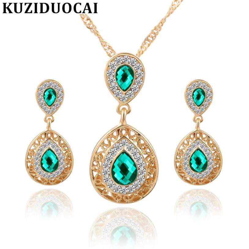 Kuziduocai New Fashion Jewelry Crystal Droplet Carving Dubai Necklaces & Pendant Stud Earring Sets For Women Parure Bijoux N-372