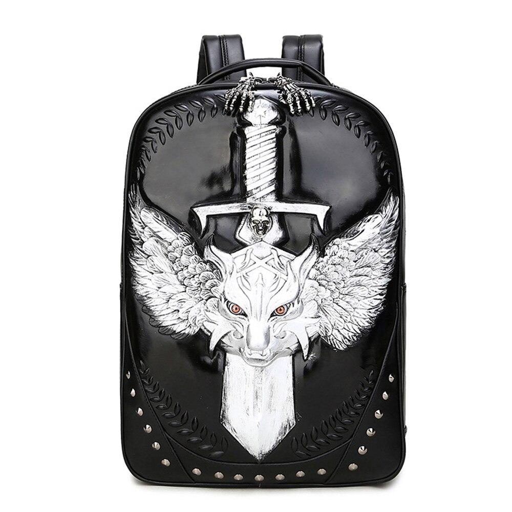 Здесь продается  EBACA Trendy Boy Favorite Tiger and Sword PU Double Shoulder Backpack Knapsack Shopping Hanging Out Attract  Камера и Сумки