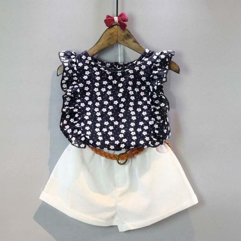 Summer Toddler Kids Baby Girls Clothes Sets Floral Chiffon Polka Dot Sleeveless T-shirt Tops+Shorts Outfits L16