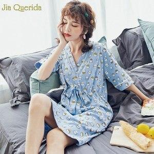 Image 2 - Нижнее белье, одежда для сна, Женская хлопковая ночная рубашка небесно голубого цвета с принтом милого котенка, с бантом на поясе, в японском стиле, кавайная одежда для сна для студентов
