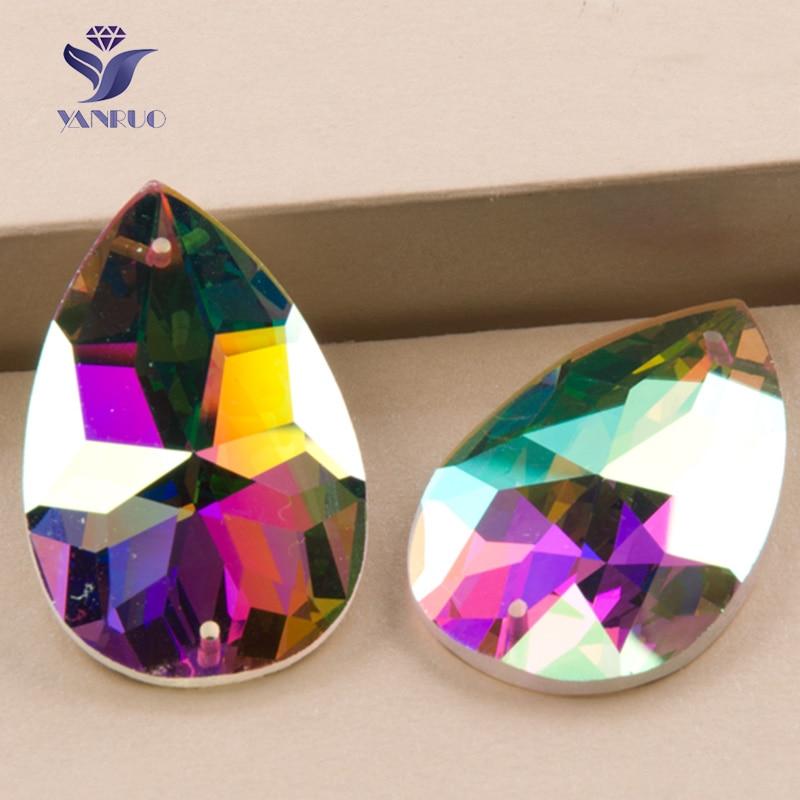 YANRUO 2154TH Drop Crystal AB Šití drahokamů Skleněné kameny Křišťálové uši Šité křišťálové kameny pro šaty