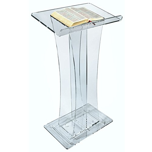Crystal Elegant Curved Acrylic Lectern or plexiglass Podium pulpit plexiglass decoration table furniture one lux plain and elegant clear transparent plexiglass acrylic bedside table with shelf 40w 30d 45h cm lucite nightstand