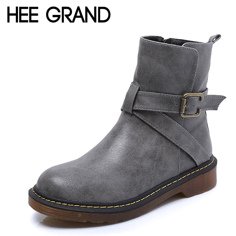 ФОТО HEE GRAND Mid-Calf Women Boots 2017 Casual Platform Shoes Woman High Quality Creepers Women Flats Shoes Plus Size 35-43 XWX5373