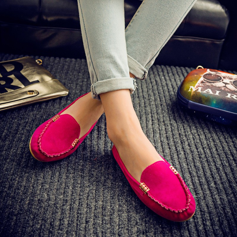 Hot sale women casual shoes fashion summer slip on candy color women flat shoes loafers flock comfortable ladies shoes DT81 new hot sale women shoes breathable buckle slip on for women comfortable dress shoes genuine leather white colour free shipping