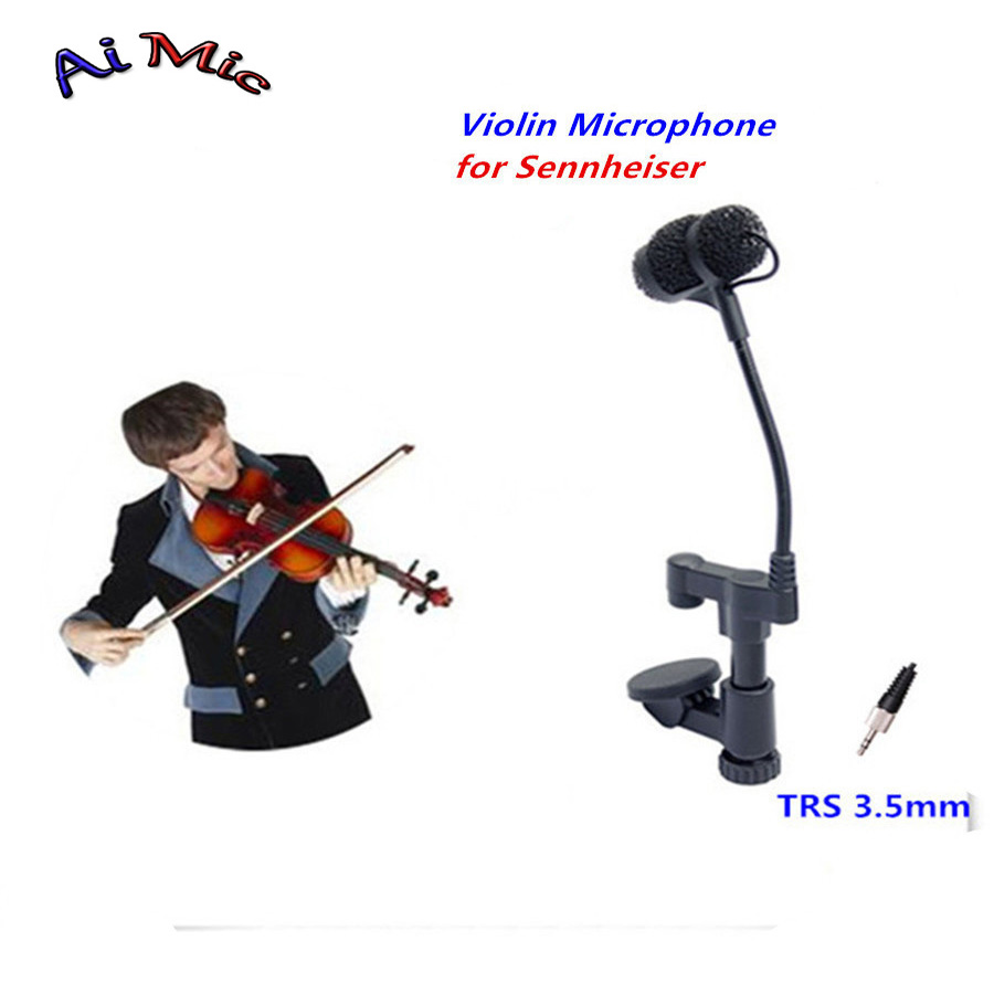 Top Gooseneck Instrument Microphone Music Violin Microfone Transmitter with TRS 3.5mm Jack for Sennheiser Wireless System Mic