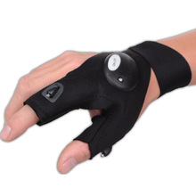 Free Shipping Magic Strap Fingerless Glove LED Flashlight Torch Cover Survival Rescue Tool
