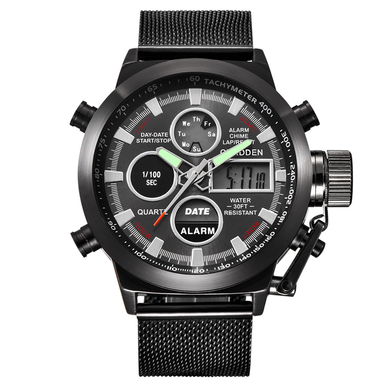 CURDDEN קוורץ שעוני ספורט דיגיטלי גברים רשת רצועת LED עמיד למים צבא צבאי שעוני יד שעון של הגברים תצוגה כפולה