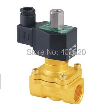free shipping 1.5 1 1/2 Size DN40 Brass Electric Solenoid Valve Normal Open 2W400 40 NO water air oil diesel AC/DC 12V 24V