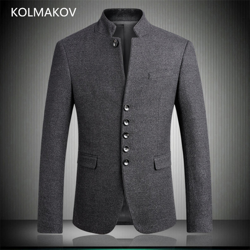 2019 New Chinese Style Tunic Suit Men's Blazers Stand Collar Formal Dress Man Uniforms Meeting Blazer Good Quality Male Clothing