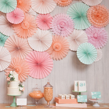6\8pcs set Paper decoration fans flowers first birthday girl party paper garland christmas royal blue rose gold balloon