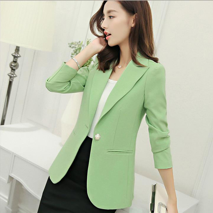 women Blazers and jackets 2019 Candy 6 colors Single Button long sleeve Notched Blazer summer clothes casual suit coat female