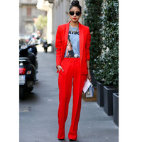 Jacket+Pants Red Women Business Suits Blazer Female Office Uniform 2 Piece Suits Ladies Winter Formal Suits Women Trouser Suit