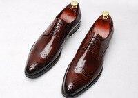Мужские borgeus натуральная кожа Derby Oxfords обувь 2018 для свадьбы или выпускного бала модная обувь на шнуровке мужские высококачественный дизайн и