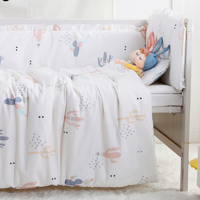Promotion! 9PCS Full Set 100% Cotton Baby Cot Bedding Set Newborn Cartoon Crib Bedding Detachable,4bumper/sheet/pillow/duvet цена