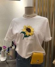 Harajuku Embroidery Sunflower Letters Womens T Shirts 2018 New Summer Casual Loose Short Sleeve Femme Tees