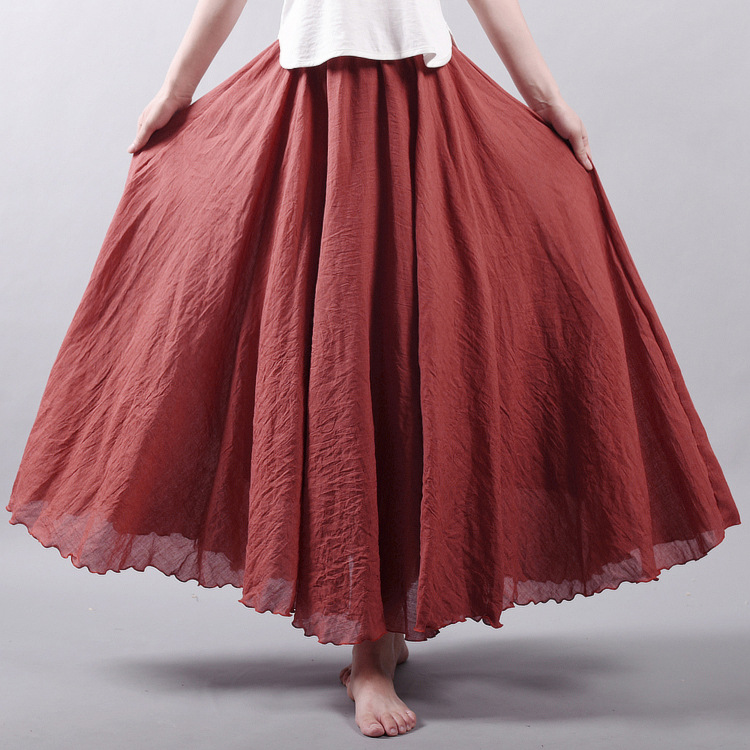 Sherhure 19 Women Linen Cotton Long Skirts Elastic Waist Pleated Maxi Skirts Beach Boho Vintage Summer Skirts Faldas Saia 11