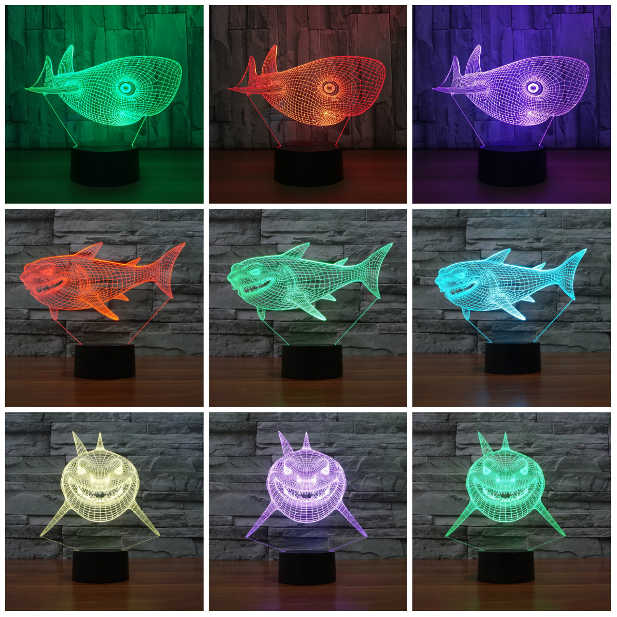 7 färger byter USB Nattlampa Touch-knapp LED 3D-upplyst hajlampa Sovrum Akryl Skrivbord Borddekor Belysning IY803215