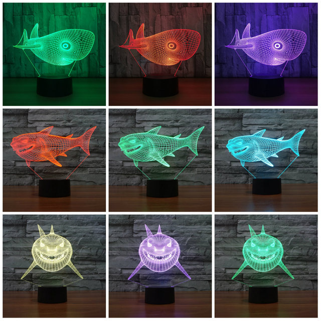 4721eafcf 7 Colors Change USB Night Light Touch Button LED 3D Illuminated Shark Lamp  Bedroom Acrylic Desk