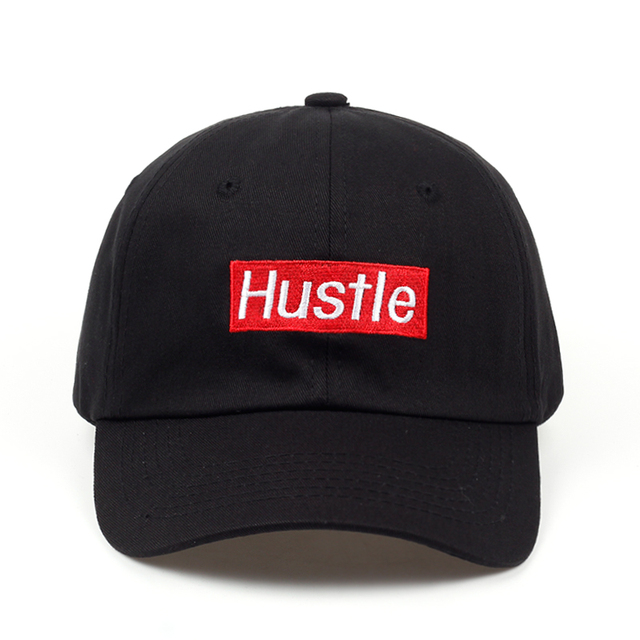 2018 new Hustle Logo papá sombrero bordado gorra de béisbol curvada Bill  100% algodón hip 5853d5f6bf7