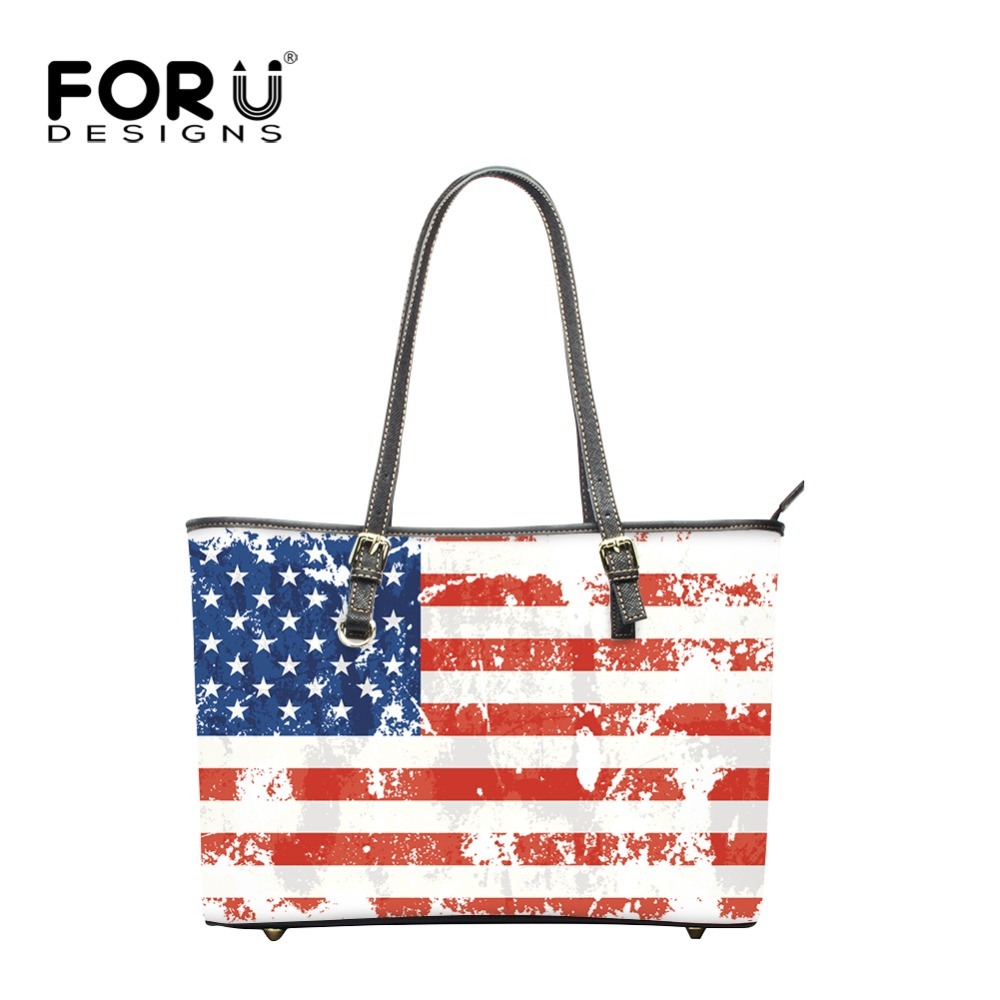 FORUDESIGNS Beach Handbags USA Flags Pattern Shop Online Handbags Large Capacity Shoulder Bags Stylish Totes Bags Zipper Popular