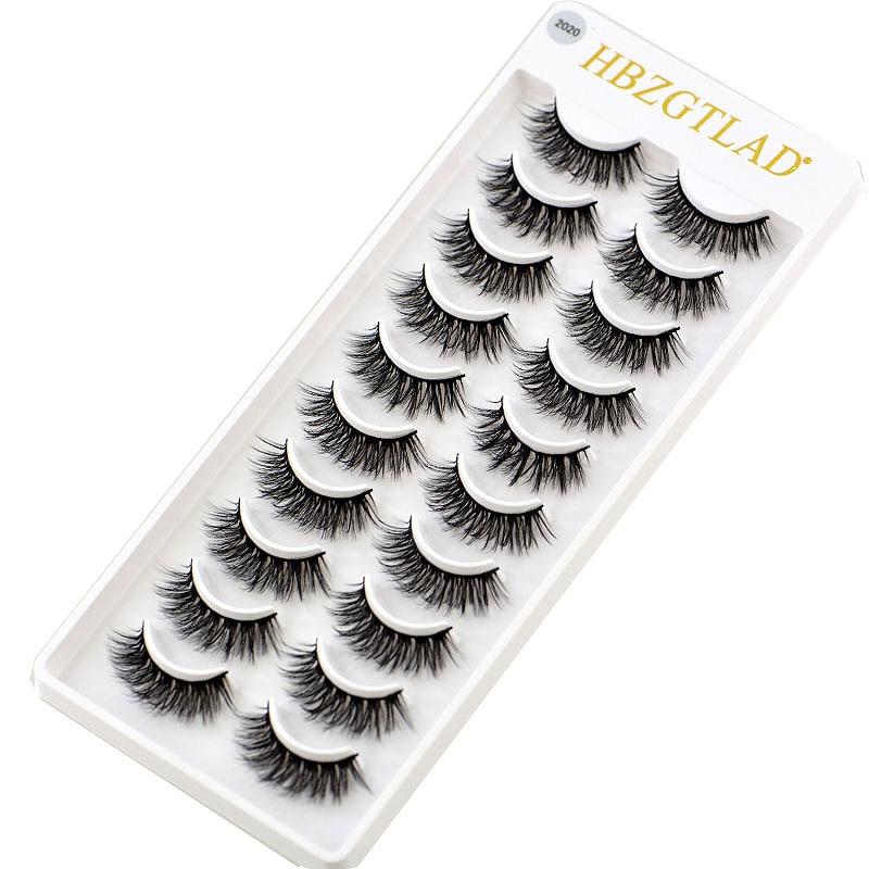 2020 NEW 10 pairs 100% Real Mink Eyelashes 3D Natural False Eyelashes 3d Mink Lashes Soft Eyelash Extension Makeup Kit Cilios(China)