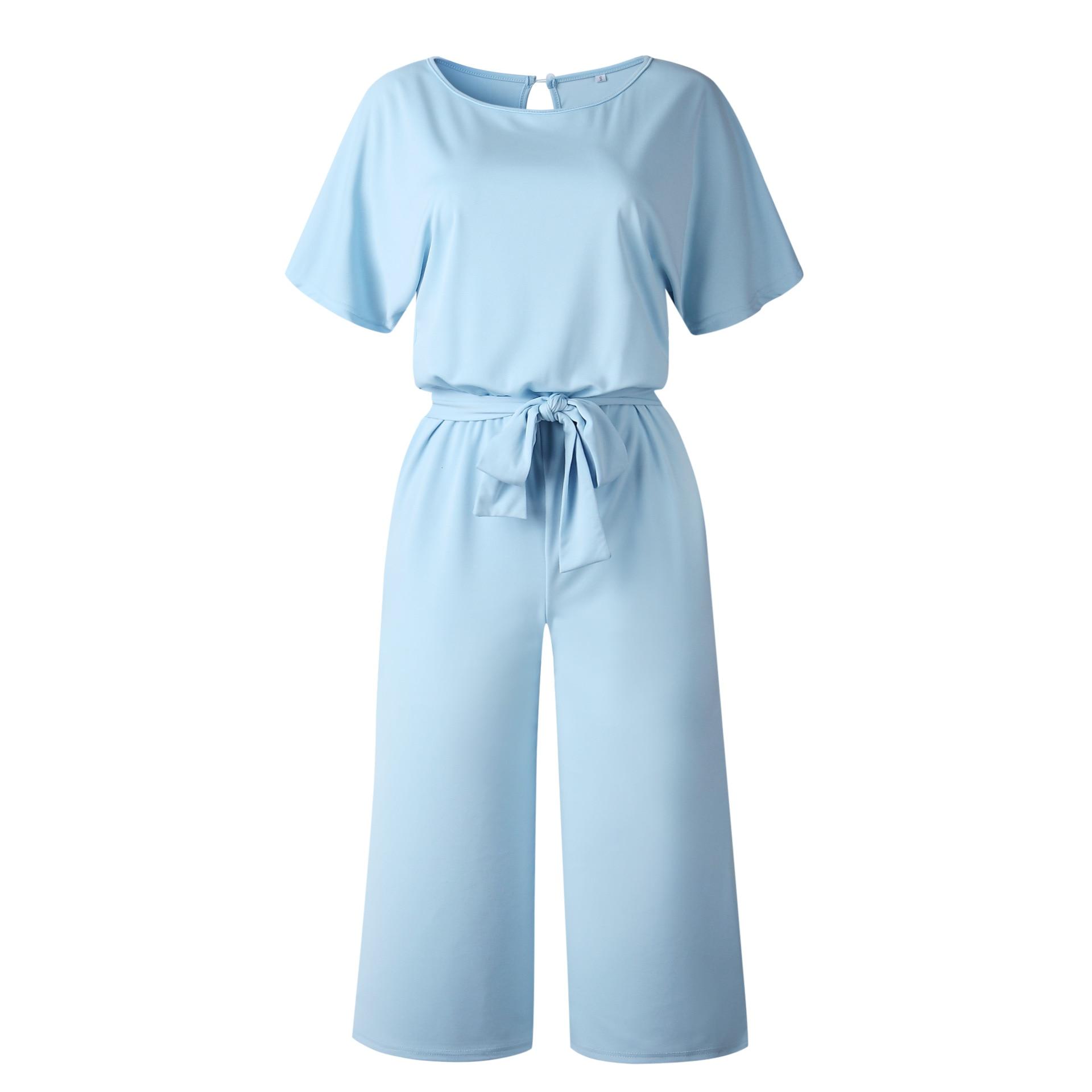 2019 Fashion Jumpsuit Women Bandage Rompers Womens Jumpsuit Office Social Summer Short Sleeve 3/4 Pants Playsuit Black Blue S XL