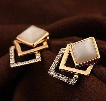 Wholesale Plated  New Style Korean Temperament OL Fashion Sparking Rhinestone  Geometry Square Opal Stud Earrings