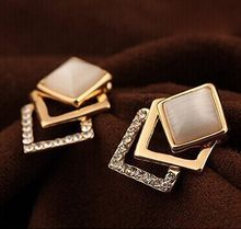 Wholesale Plated New Style Korean Temperament OL Fashion Sparking Rhinestone Geometry Square Opal Stud Earrings(China)