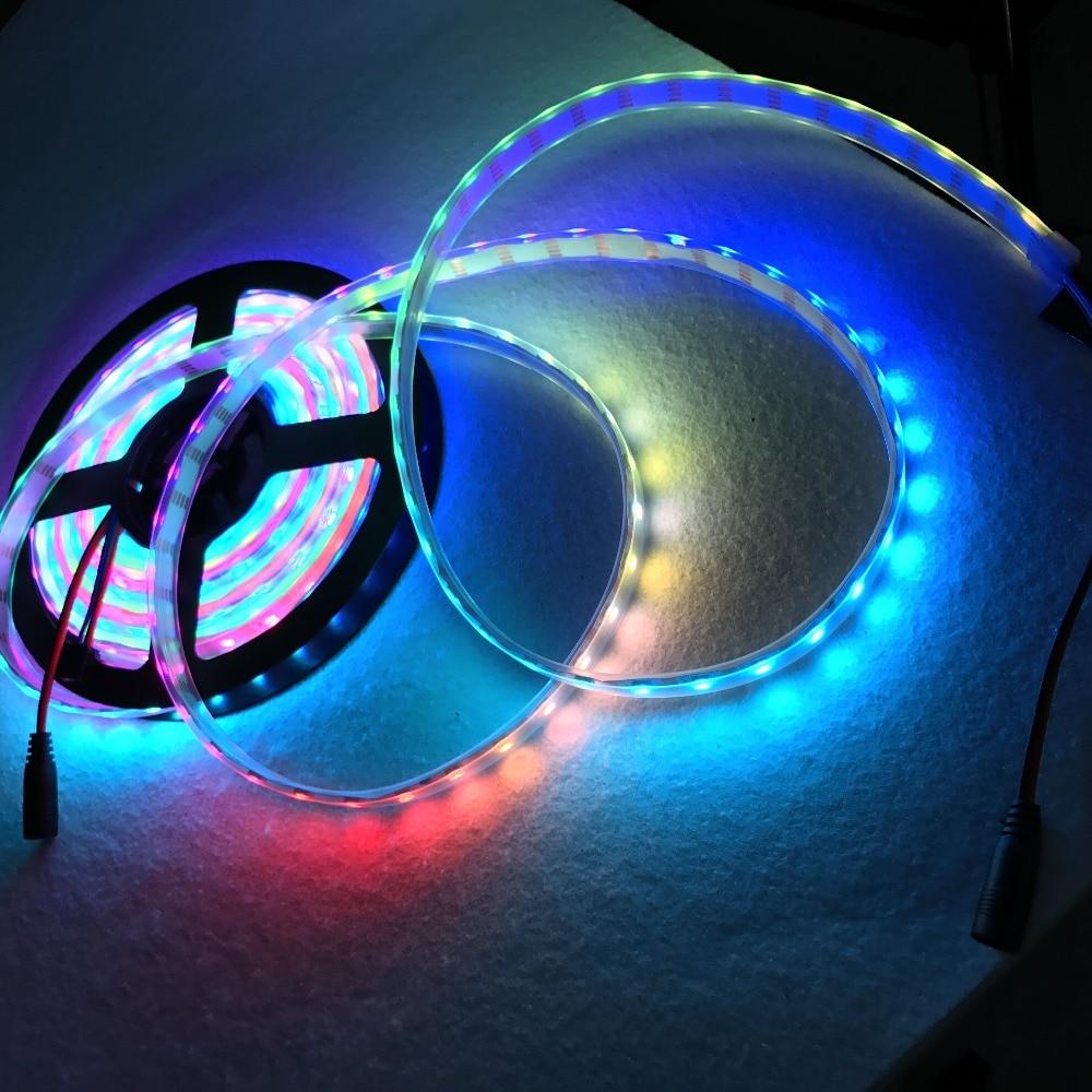 WS2815 DC12V アドレス可能フルカラー RGB 5050 LED ストリップ 60 leds/m; 5 メートル; 防水シリコンチューブ; IP66; 白 PCB  グループ上の ライト & 照明 からの LED ストリップ の中 2