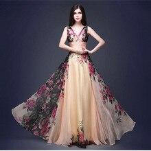 цена Elegant Long Dress Women 2019 Floral Print Chiffon Floor Length Maxi Dresses A Line Party Bridal Vestidos De Fiesta De Noche