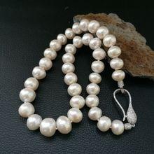 Натуральный пресноводный жемчуг 10-12 мм жемчужное ожерелье роскошная хрустальная застежка 19 дюймов
